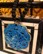 Teramasu Black Onyx Necklace with Carved Blue Jade and Gold Trim Pendant