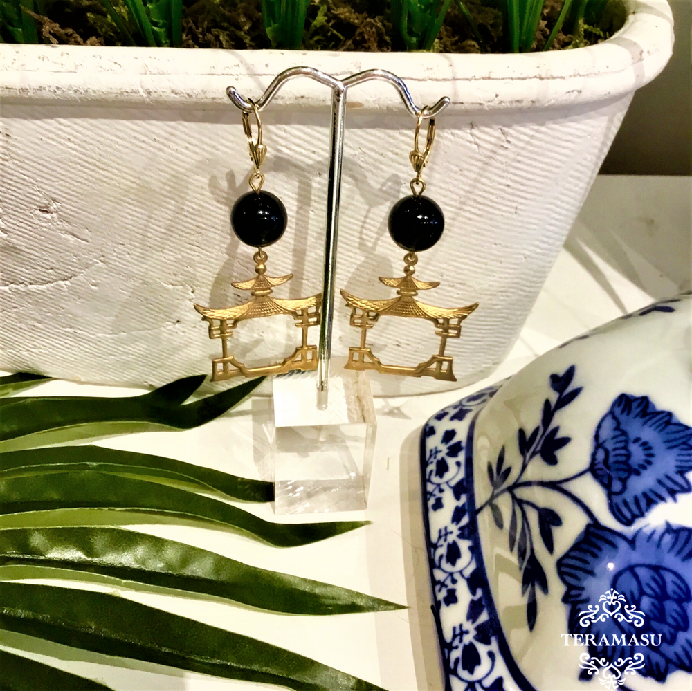 Teramasu Black Onyx with Gold Pagoda Drop Earrings