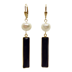 Teramasu Black Onyx with Pearl Drop Earrings