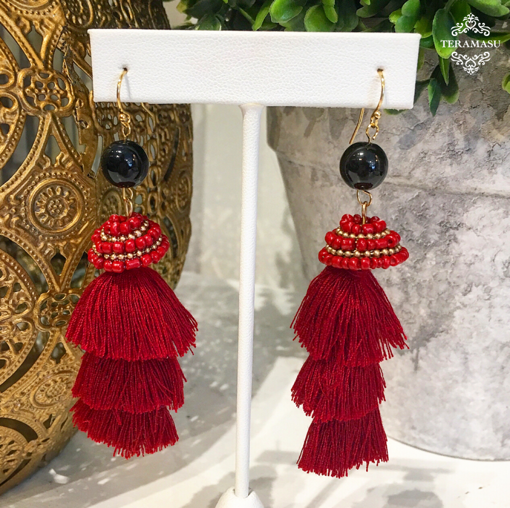 Teramasu Black Onyx with Beaded Red Tassel Earrings
