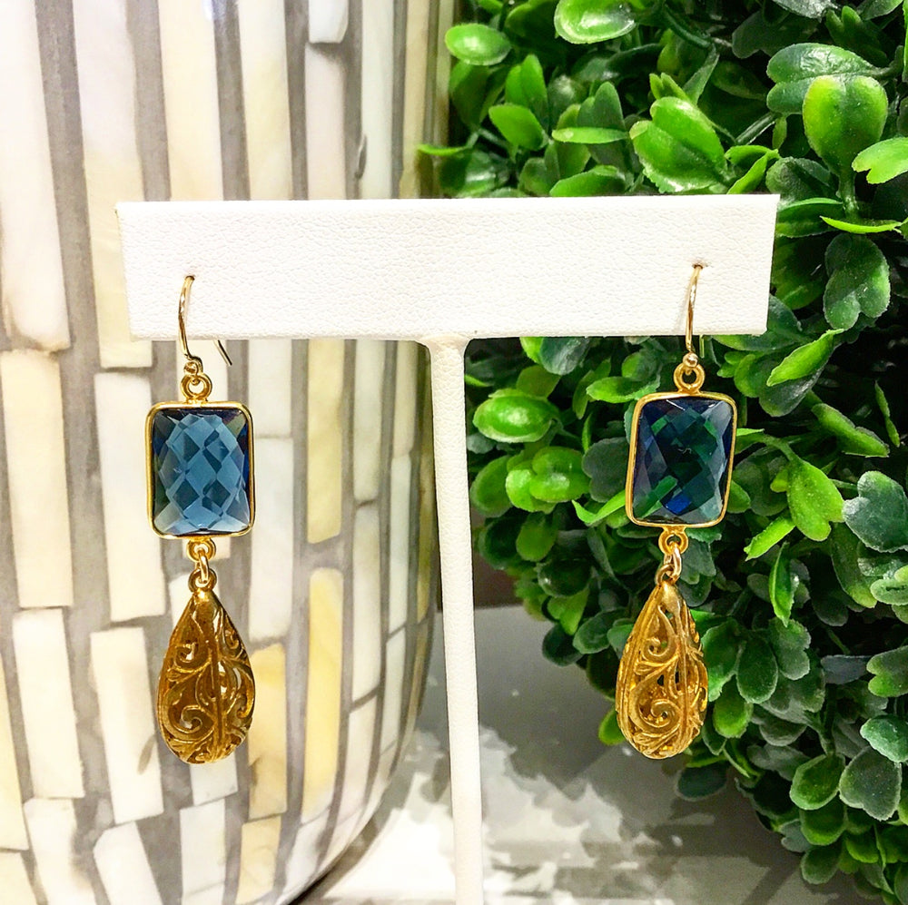 Teramasu Navy Blue Crystal and Gold Filigree Drop Earrings
