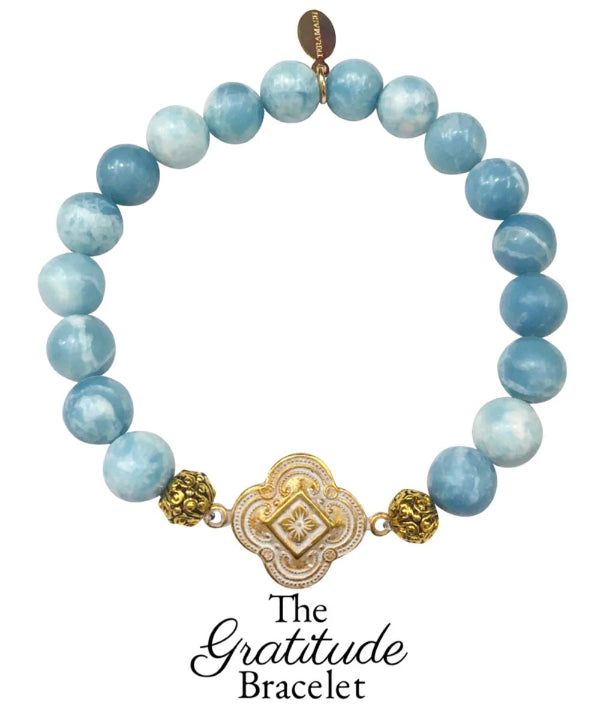 The Teramasu Gratitude Bracelet in Sky Blue Larimar Quartz