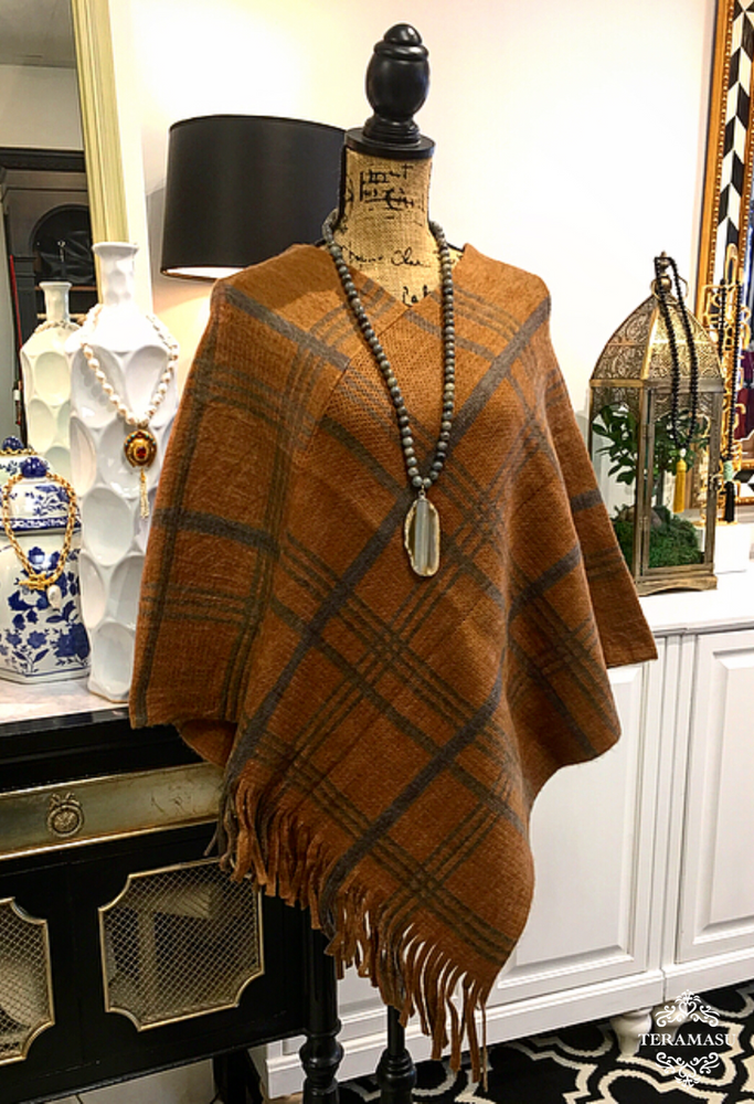 Teramasu Camel and Grey-Brown Plaid Cape with Fringe Hem