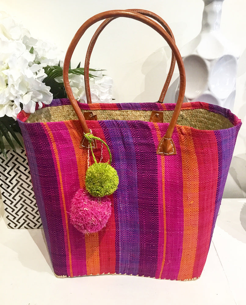 Handmade Multi-Color Striped Straw Tote Purse with Pom-Poms
