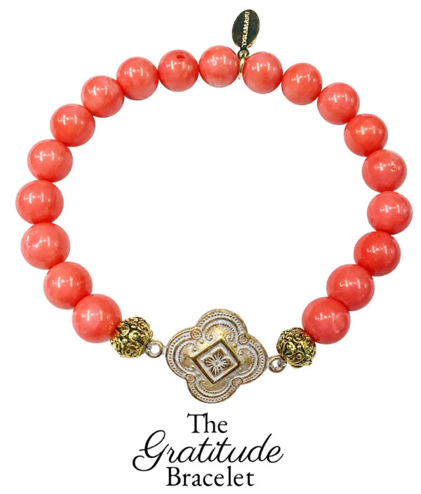 The Teramasu Gratitude Bracelet in Pink Coral Gemstone