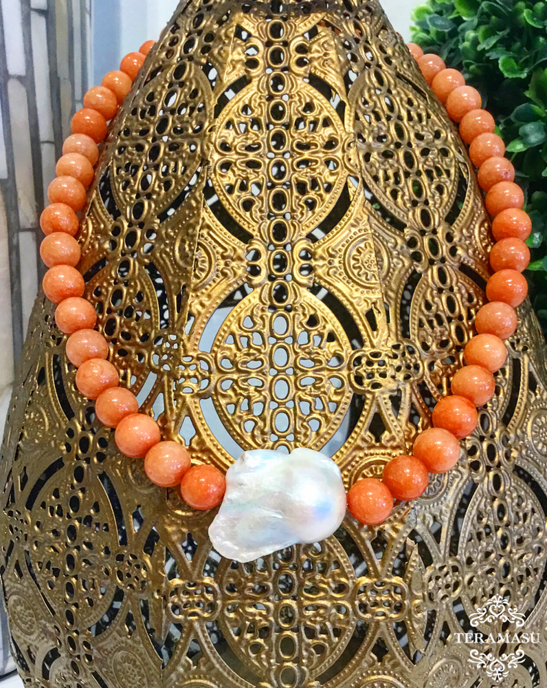 Teramasu Coral Agate and Baroque Pearl Necklace