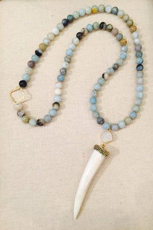 White Horn Tusk Aqua Chalcedony and Amazonite Long Necklace
