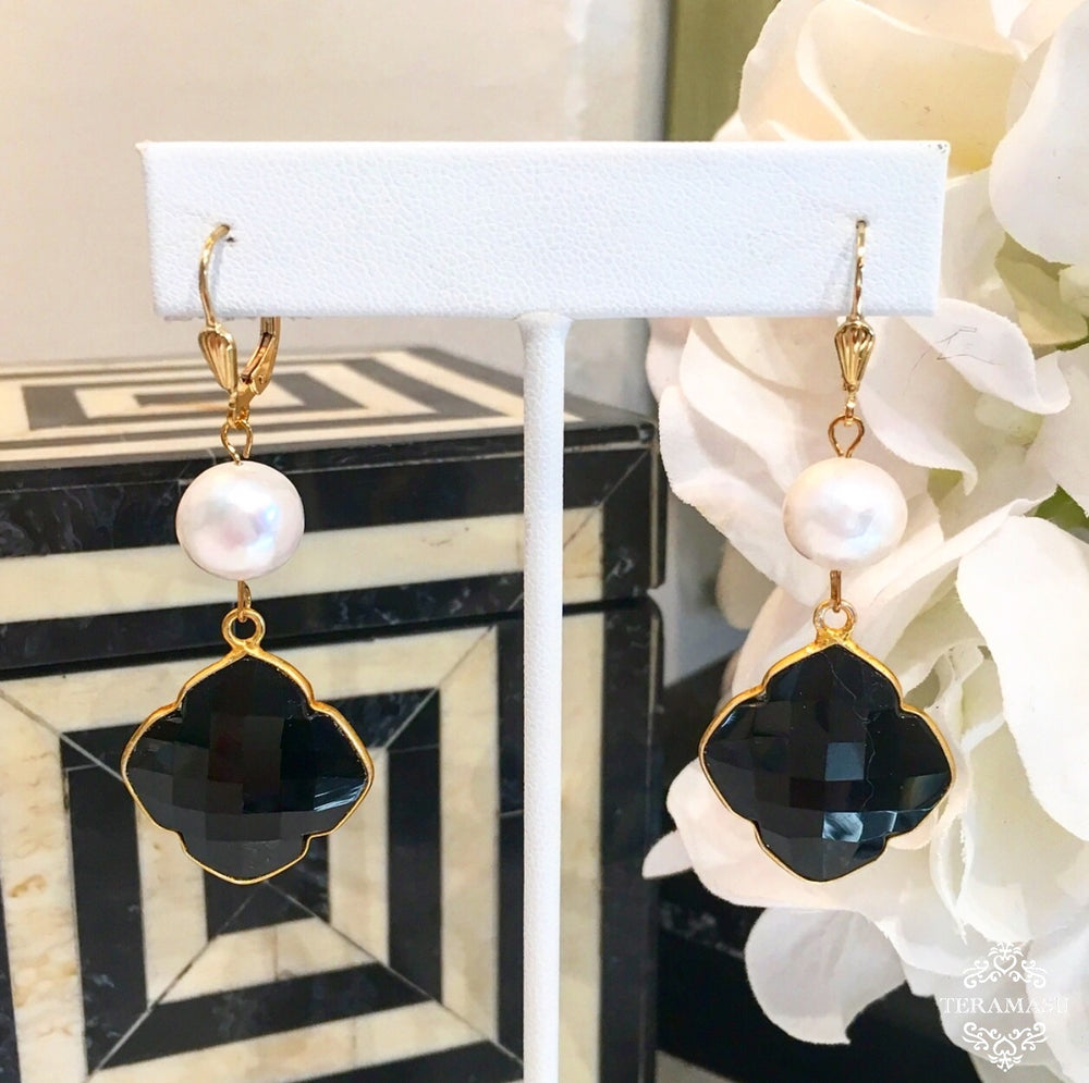 Teramasu Pearl and Black Onyx Clover Drop Earrings