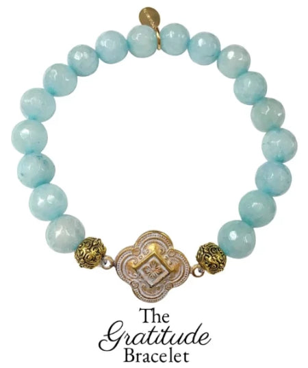 The Teramasu Gratitude Bracelet in Aqua Blue Agate