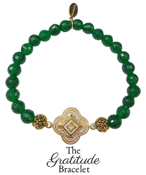 The Teramasu Gratitude Bracelet in Faceted Green Agate