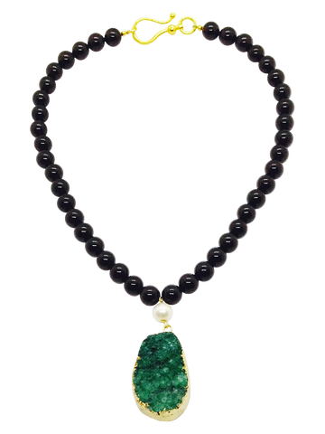 Teramasu Black Onyx and Green Druzy Pendant with Pearl Necklace