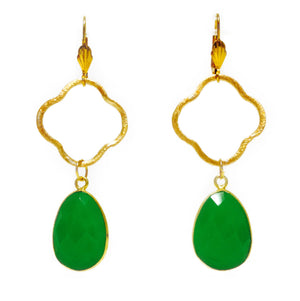 Teramasu Clover And Green Chalcedony Gold Plated Earrings
