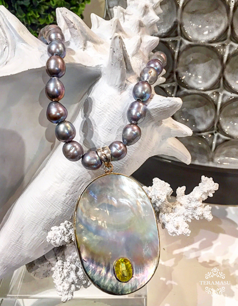 Teramasu Grey Pearl Necklace with One-of-a-Kind Shell & Green Crystal Pendant