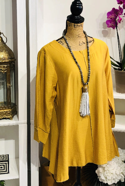 Teramasu Swing Tunic Top in Mustard Yellow