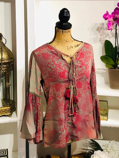 Boho Floral Chiffon Blouse with Bell Sleeves and Tassel Tie