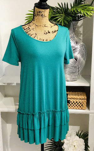 Perfect Match Green Short Sleeve Tunic with Ruffle Hem