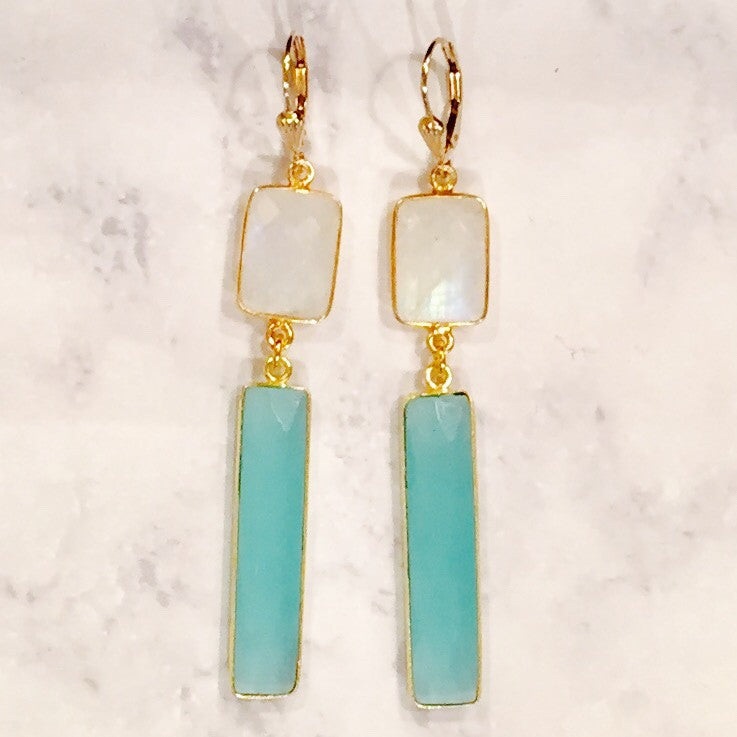Aqua Chalcedony Moonstone Earrings