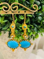 Teramasu Gold Bird and Turquoise Drop Earrings
