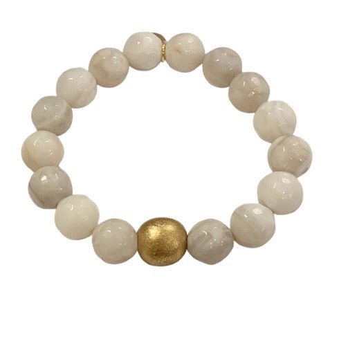 Moonstone Faceted Beaded Stretch Bracelet With Gold Accent