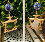 Teramasu Hand-painted Blue & White Porcelain with Gold Pagoda Drop Earrings
