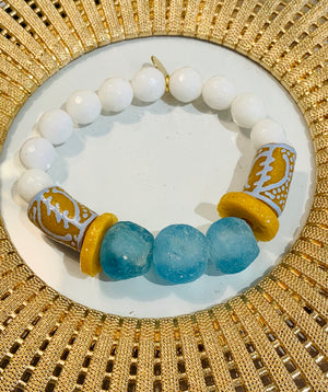 Teramasu White Agate Blue Glass Bracelet