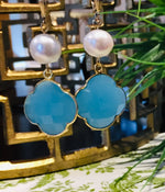 Teramasu Pearl Aqua Chalcedony Clover Earrings