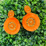 Teramasu Orange Round Fringe Post Beaded Earrings
