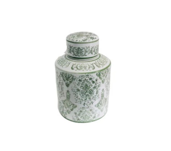 Green and White Floral Design Vase with Removable Top