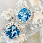 Aqua Swarovski Crystal Rhinestones Silver  Lever Back Earrings