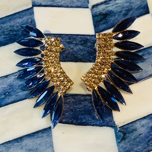 Teramasu Blue Crystal Wing Post Earrings