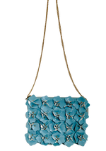 Pretty in Pastel Blue Crossbody Bag with Gold Chain and Flower Design