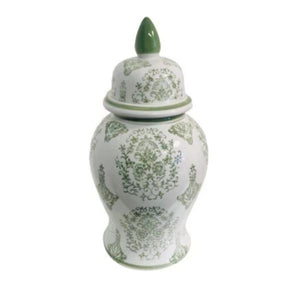 Green and White Floral Design Tall Vase with Removable Top