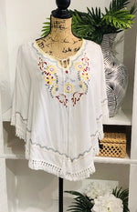 Touch of Grace Embroidered Flowy Blouse with Tassel Tie