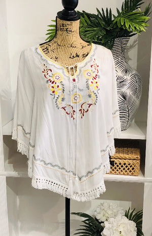 Touch of Grace Flowy Embroidered Blouse with Tassel Tie