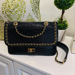 Black Texture Gold Chain Crossbody Purse
