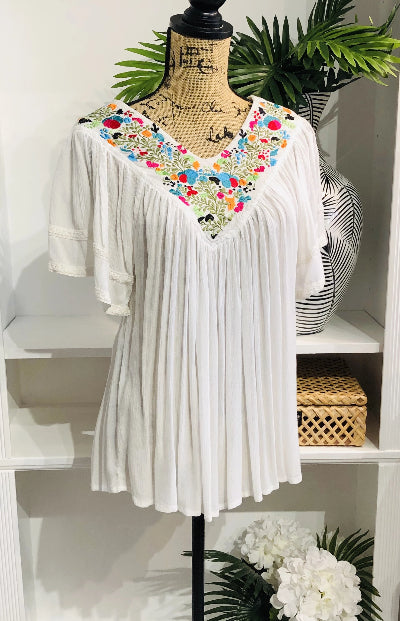 Always Fashionable Embroidered Floral Blouse