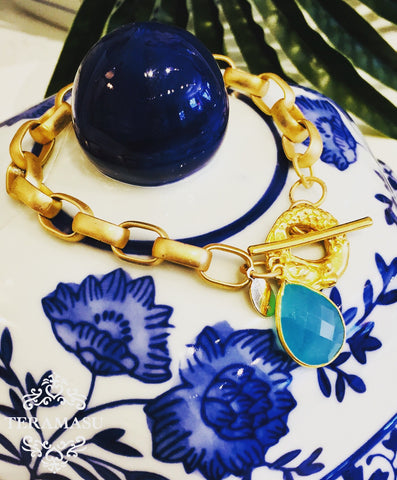 Aqua Chalcedony Matte Gold Link Bracelet with Mermaid Toggle
