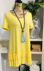 Perfect Match Yellow Short Sleeve Tunic with Ruffle Hem