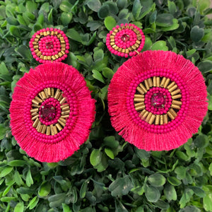Teramasu Hot Pink Round Fringe Post Earrings