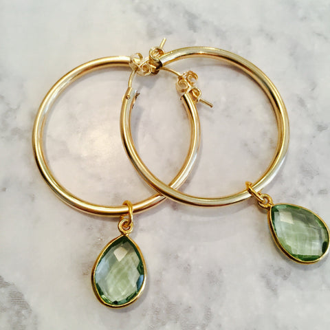 Green Amethyst Gemstone Gold Filled Hoop Earrings
