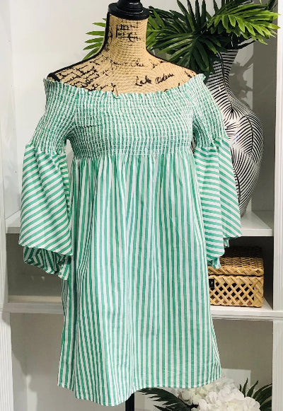 Green and White Striped Bell Sleeve Tunic