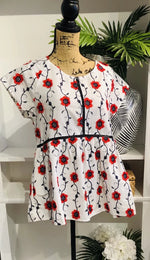 Exquisite Red, Navy, and White Embroidered Baby Doll Blouse
