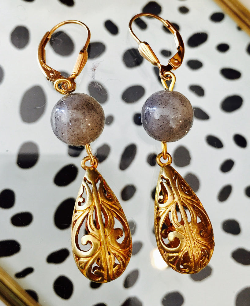 Labradorite Gold Filigree Earrings