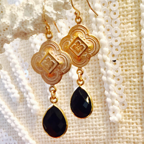 Black Onyx Patina Quatrefoil Design Dangle Earrings