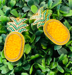 Teramasu Pineapple Yellow Beaded Earrings