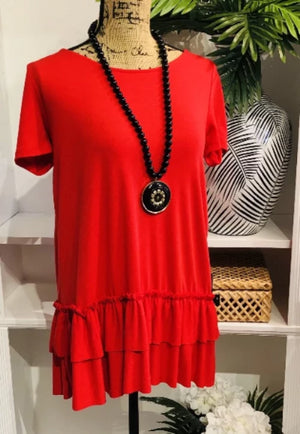 Perfect Match Red Short Sleeve Tunic with Ruffle Hem