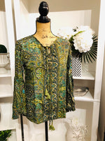 Green Paisley Top with Bell Sleeves and Tassel Tie