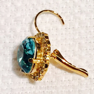 Turquoise Swarovski Crystal With Crystals Leverback Dangle Earrings