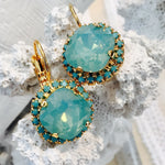 Pacific Opal Swarovski Crystal With Turquoise Blue Rhinestones Leverback Dangle Earrings