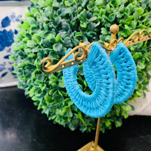 Teramasu Turquoise Raffia Hoop Post Earrings